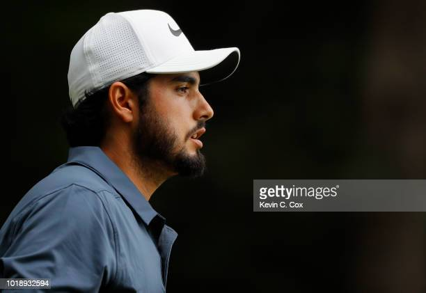 Abraham Ancer of Mexico walks off the second tee during the third round of the Wyndham Championship at Sedgefield Country Club on August 18 2018 in...
