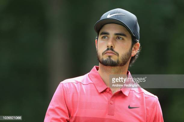 Abraham Ancer of Mexico walks on the second hole during the final round of the Dell Technologies Championship at TPC Boston on September 3 2018 in...