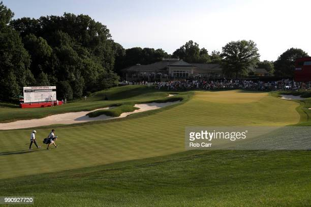 Abraham Ancer of Mexico walks to the 18th green during the final round of the Quicken Loans National at TPC Potomac on July 1 2018 in Potomac Maryland