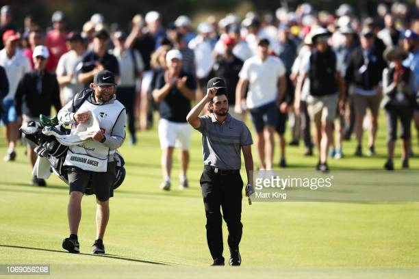 Abraham Ancer of Mexico walks up the 18th fairway during day four of the 2018 Australian Golf Open at The Lakes Golf Club on November 18 2018 in...