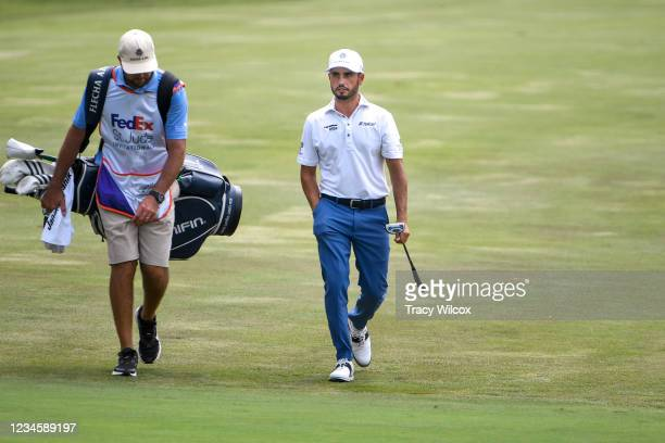 Abraham Ancer of Mexico walks up the ninth hole during the final round of the World Golf Championships-FedEx St. Jude Invitational at TPC Southwind...