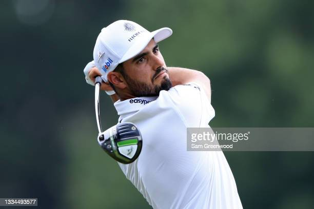 Abraham Ancer of Mexico watches his drive on the third hole during the final round of the World Golf Championship-FedEx St Jude Invitational at TPC...