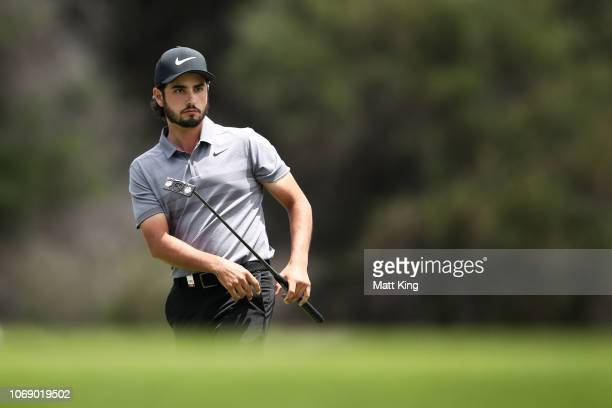 Abraham Ancer of Mexico watches his putt on the 6th green during day four of the 2018 Australian Golf Open at The Lakes Golf Club on November 18 2018...