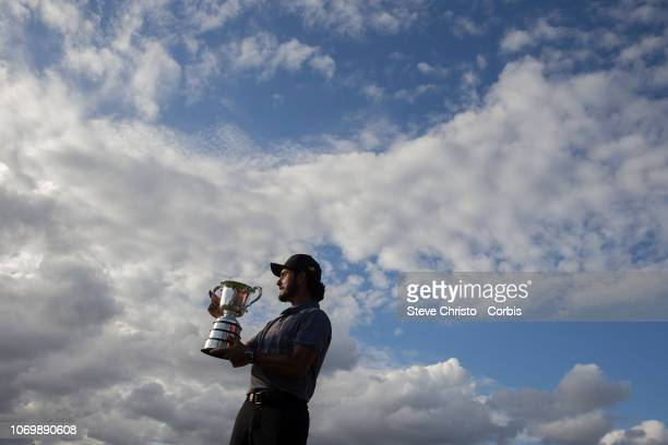Abraham Ancer of Mexico with the Stonehaven Cup during round 4 of the Australian Open Golf Tournament at The Lakes Golf Club in Sydney Saturday...