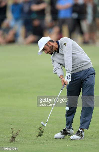 Abraham Ancer of the International Team plays his second shot on the 15th hole in his match with Marc Leishman against Justin Thomas and Rickie...