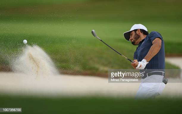 Abraham Ancer plays a shot from a bunker on the second hole during the final round at the RBC Canadian Open at Glen Abbey Golf Club on July 29 2018...