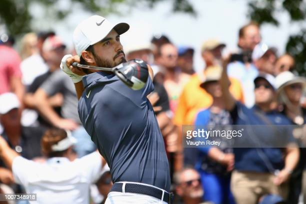 Abraham Ancer plays his shot from the first tee during the final round at the RBC Canadian Open at Glen Abbey Golf Club on July 29 2018 in Oakville...
