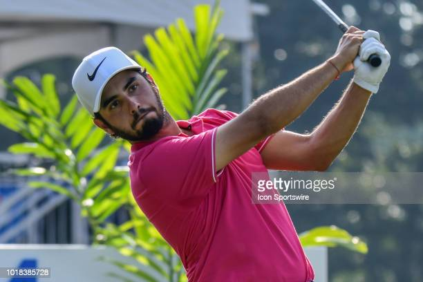 Abraham Ancer tees off on the 17th hole during the second round of the Wyndham Championship on August 17 2018 at Sedgefield Country Club Greensboro NC