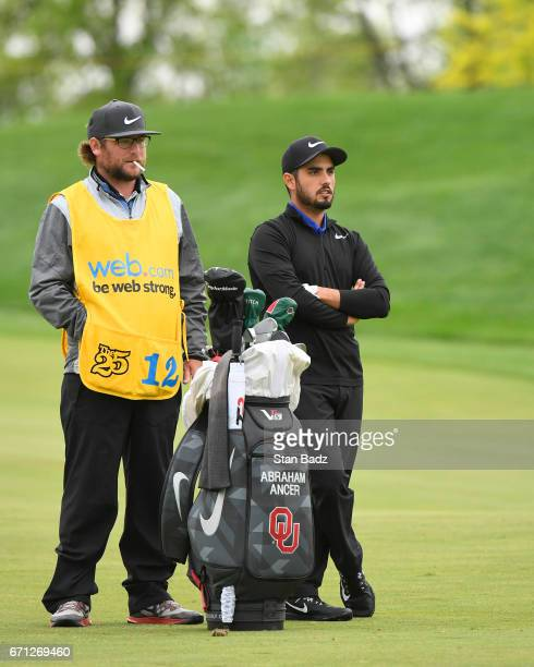 Abraham Ancer watches play on the first hole during the second round of the Web.com Tour United Leasing & Finance Championship at Victoria National...