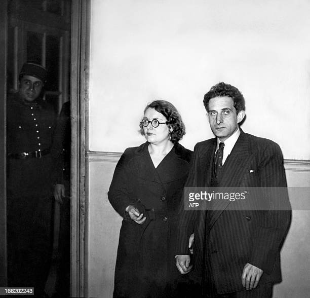 Abraham and Chawa Grynszpan uncle and aunt of Herschel Grynszpan attend Grynszpan hearings 02 December 1938 at a Paris court Grynszpan a 16year old...