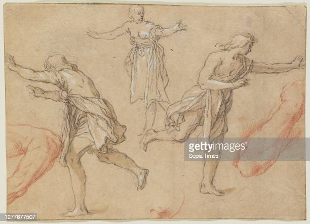 Abraham Bloemaert, Studies of Running Figures, 1590-1650, pen and brown ink and brown wash over black chalk on brown laid paper, 4 5/8 in. X 6 3/8...