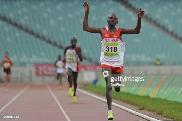 Abraham Cheroben of Bahrain wins Men's 10000m final during day five of Athletics at Baku 2017 4th Islamic Solidarity Games at Baku Olympic Stadium On...