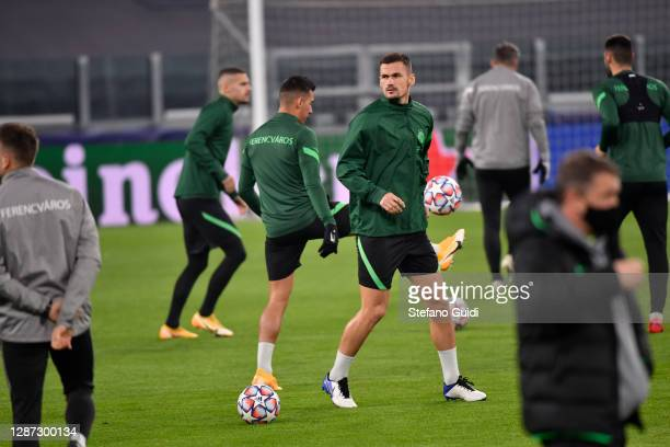 Abraham Frimpong of Ferencvárosi Budapest during of training session ahead of the UEFA Champions League Group G stage match between Ferencvaros...