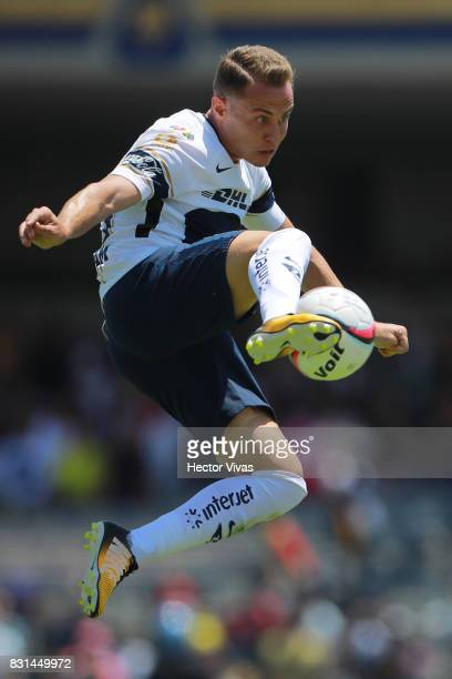 Abraham Gonzalez of Pumas kicks the ball during the fourth round match between Pumas UNAM and Lobos BUAP as part of the Torneo Apertura 2017 Liga MX...