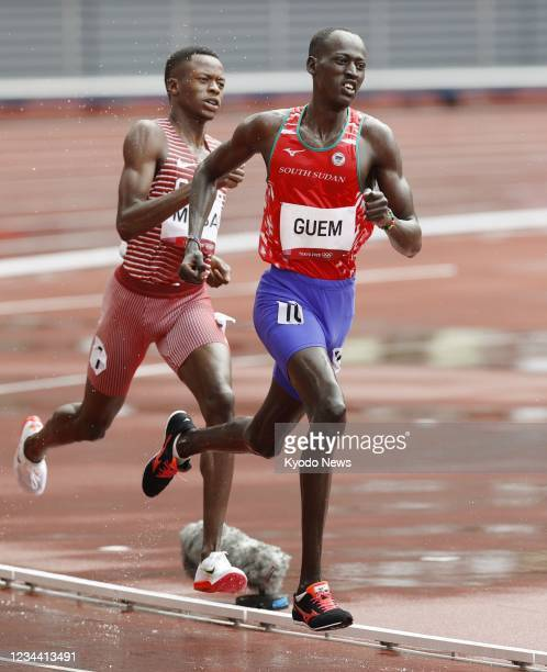Abraham Guem of South Sudan competes in the men's 1,500-meter first round at the Tokyo Olympics on Aug. 3 at the National Stadium in Tokyo.