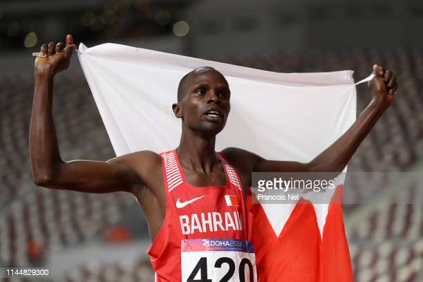 Abraham Kipchirchir Rotich of Bahrain celebrates after winning the Men's 1500m Final race during Day Four of the 23rd Asian Athletics Championships...