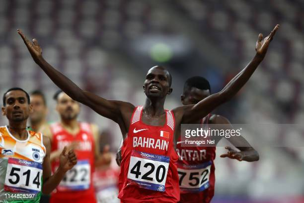 Abraham Kipchirchir Rotich of Bahrain celebrates crossing the line to win the Men's 1500m Final race during Day Four of the 23rd Asian Athletics...