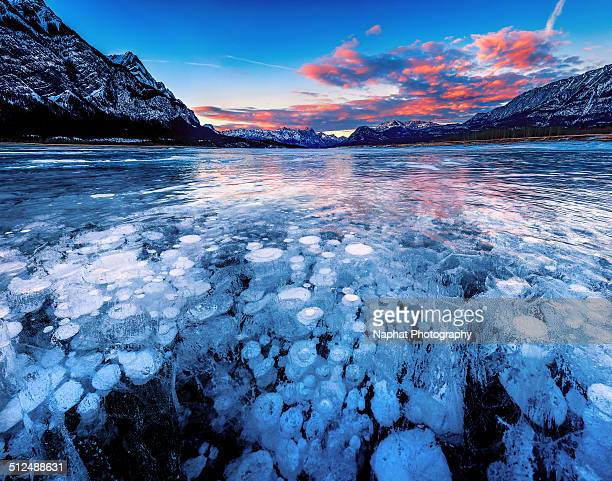 Abraham lake at sunset