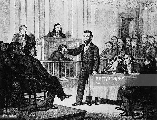 Abraham Lincoln attorney and future President is shown defending Armstrong Undated lithograph by Theodor Schrader