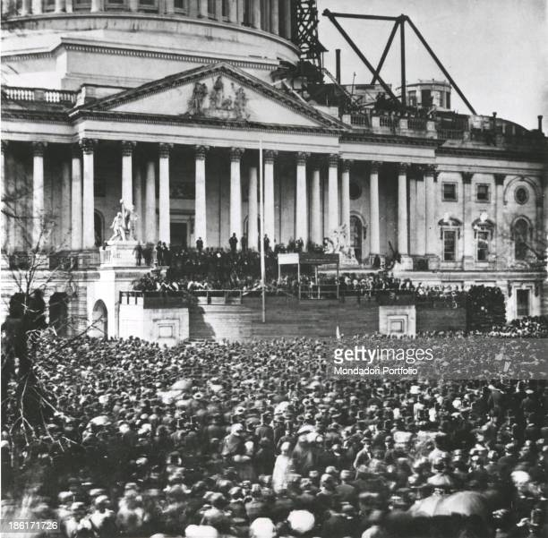 Abraham Lincoln elected President of the United States of America at the Capitol building still on site Washington 4th March 1861