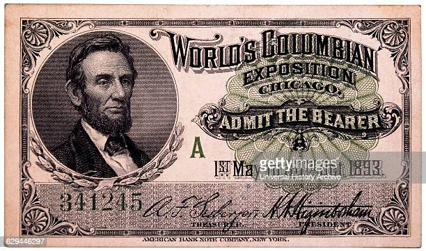 Abraham Lincoln Engraving Ticket to World's Columbian Exposition Chicago Illinois 1893