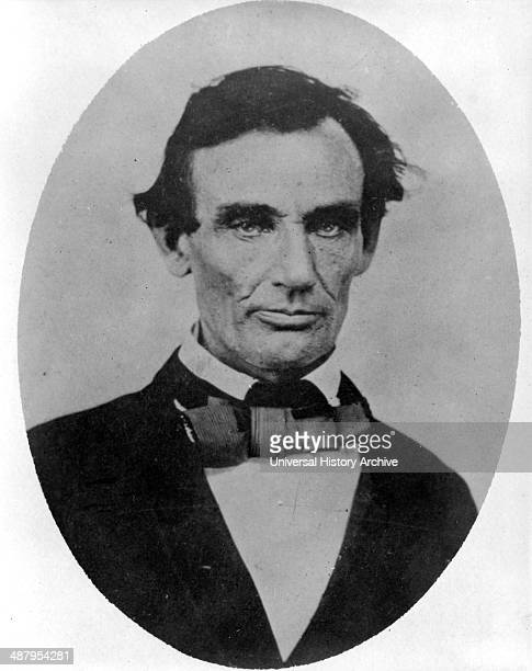 Abraham Lincoln headandshoulders portrait facing slightly left taken in Pittsfield Illinois two weeks before the final LincolnDouglas debate in...