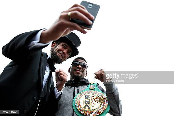 Abraham Lincoln impersonator Ron Carley takes a selfie picture with WBC Champion Badou Jack in front of the White House prior to Jack facing Lucian...