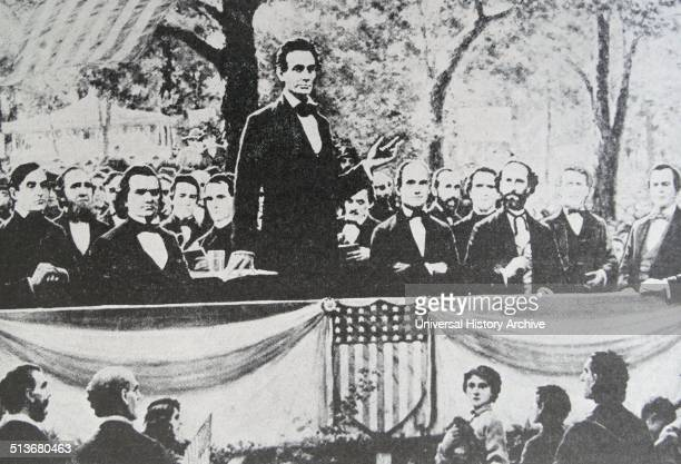 Abraham Lincoln in one of a series of seven debates regarding slavery with Stephen Douglas his rival for a seat in the Senate These debates permitted...