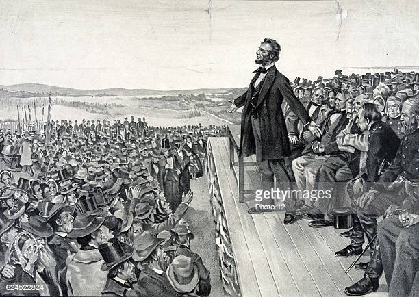 Abraham Lincoln making his famous address on 19 November 1863 at the dedication of the Soldiers' National Cemetery at Gettysburg on the site of the...