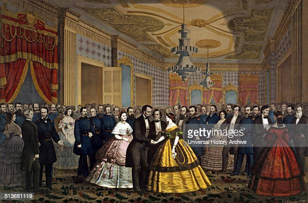 Abraham Lincoln Mary Todd Lincoln greeting Union generals Cabinet members others at a reception
