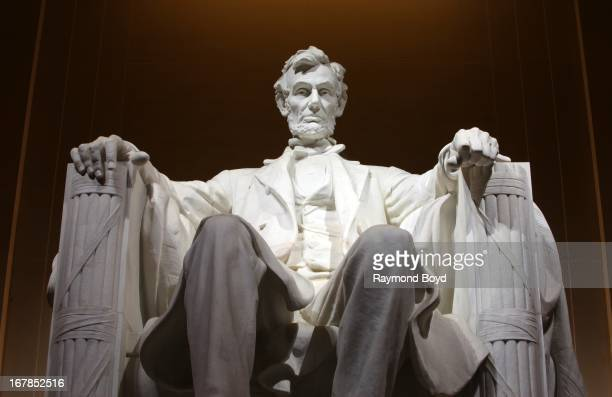 Abraham Lincoln Memorial and Statue at night in Washington DC on APRIL 20