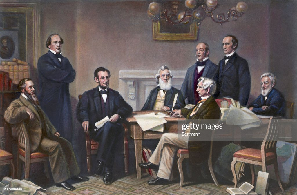 Illustration of Abraham Lincoln Reading the Emancipation Proclamation Before His Cabinet Members : News Photo