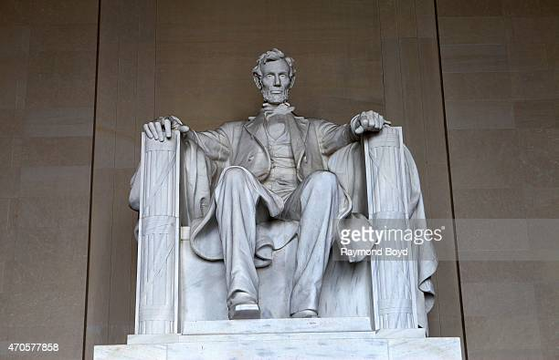 Abraham Lincoln statue sits inside the rotunda of the Lincoln Memorial on April 10 2015 in Washington DC