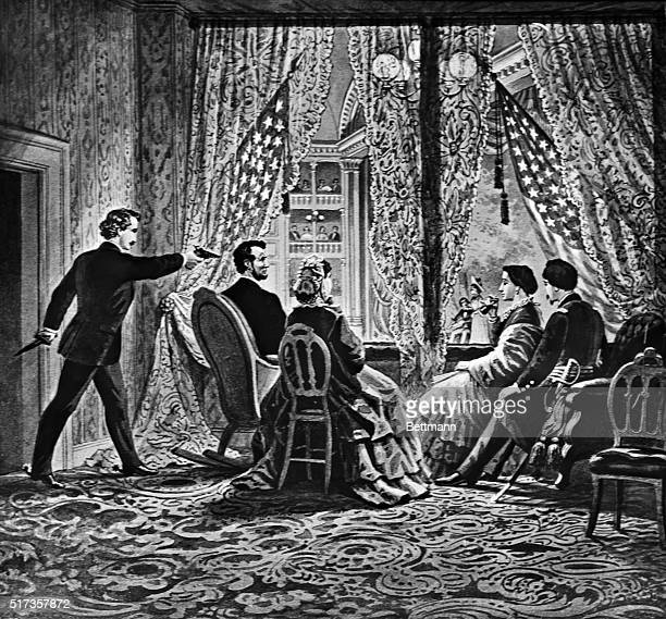 Abraham Lincoln The assassination of Lincoln in Ford's Theater by John Wilkes Booth Undated engraving BPA2# 2864