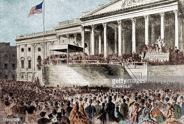 Abraham Lincoln's inaugural address in front of the Washington State House of Representatives March 1861 AB Sixteenth President of the United States...