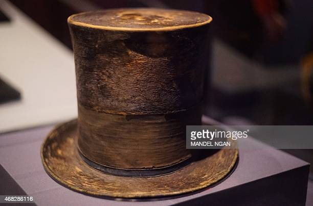 Abraham Lincoln's top hat worn the night of his assassination is seen at the Ford's Theatre Center for Education and Leadership on April 1 2015 in...