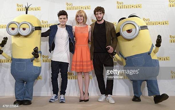 Abraham Mateo Alexandra Jimenez and Quim Gutierrez attend a photocall for 'The Minions' at the Hesperia Hotel on July 1 2015 in Madrid Spain