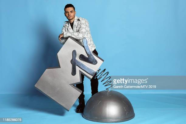 Abraham Mateo poses at the MTV EMAs 2019 studio at FIBES Conference and Exhibition Centre on November 03, 2019 in Seville, Spain.