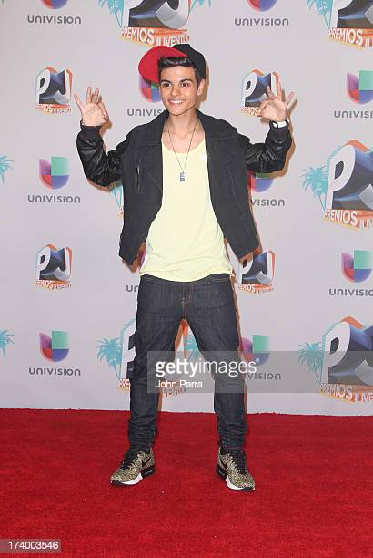 Abraham Mateo poses in the press room during the Premio Juventud 2013 at Bank United Center on July 18, 2013 in Miami, Florida.