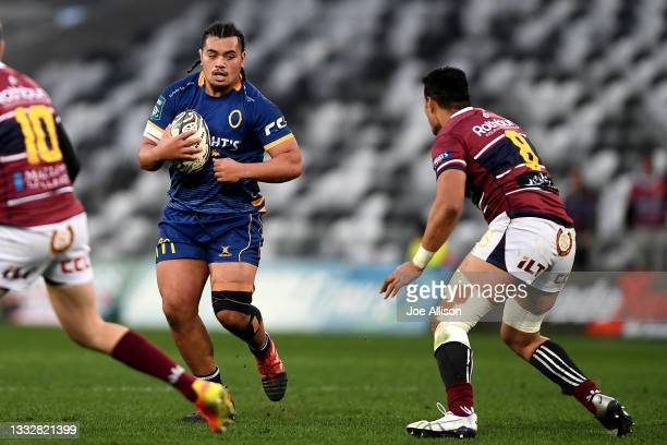 Abraham Pole of Otago makes a run with the ball during the round one Bunnings NPC match between Otago and Southland at Forsyth Barr Stadium, on...