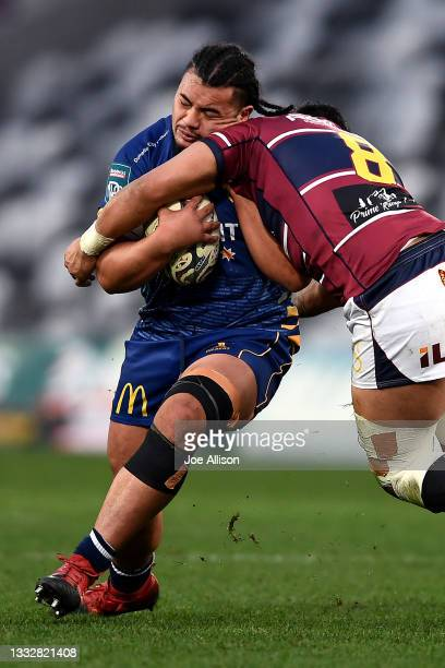 Abraham Pole of Otago runs into the defence during the round one Bunnings NPC match between Otago and Southland at Forsyth Barr Stadium, on August 07...