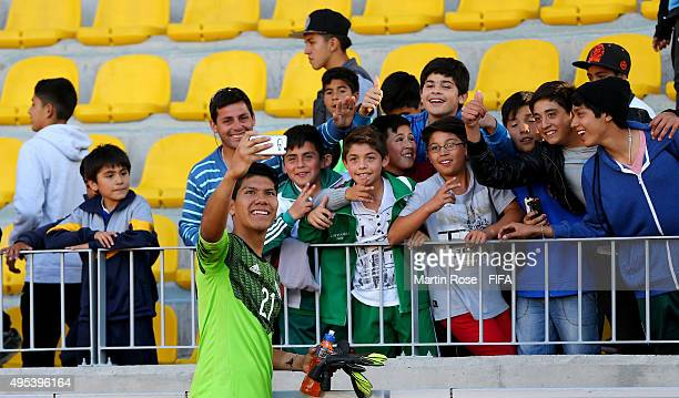 Abraham Romero goalkeeper of Mexico celebrates after the FIFA U17 Men's World Cup 2015 quarter final match between Ecuador and Mexico at Estadio...