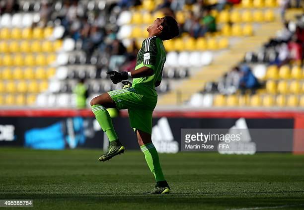 Abraham Romero goalkeeper of Mexico celebrates during the FIFA U17 Men's World Cup 2015 quarter final match between Ecuador and Mexico at Estadio...