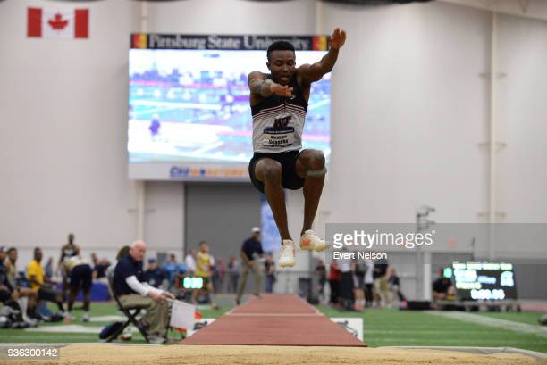 Abraham Seaneke of West Texas AM competes in the Triple Jump during the Division II Men's and Women's Indoor Track Field Championships at Robert W...