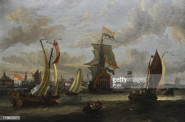 Abraham Storck Dutch landscape and maritime painter of the Baroque era View of Amsterdam from the Bay of Ij Gemldegalerie Berlin Germany