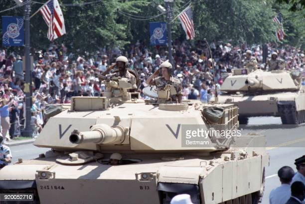 Abraham tanks parade down Constitution avenue in a victory parade in the nation's capital to honor troops that served in the Gulf War The parade was...