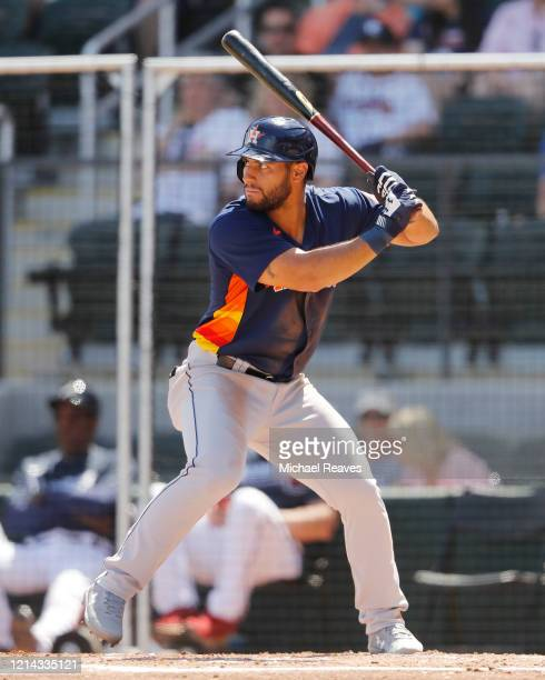 Abraham Toro of the Houston Astros at bat against the Atlanta Braves during a Grapefruit League spring training game at CoolToday Park on March 10...