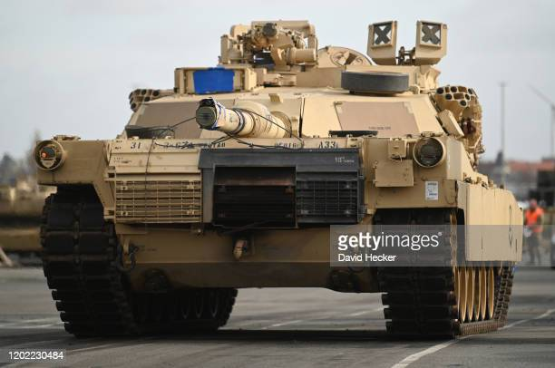 Abrahams battle tank from the U.S. 2nd Brigade Combat Team, 3rd Infantry Division, parked at Bremerhaven port on February 21, 2020 in Bremerhaven,...