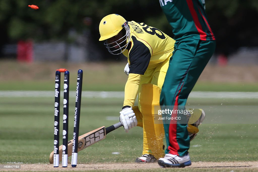 Abram Ndhlovu Mutyagaba of Uganda is run out during an ICC World Cup qualifying match against Kenya on January 19, 2014 in Mount Maunganui, New Zealand.