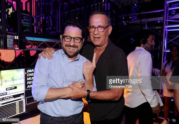 J Abrams and Tom Hanks attend the XQ Super School Live presented by EIF at Barker Hangar on September 8 2017 in Santa California